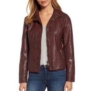 Braid Detail Faux Leather Jacket